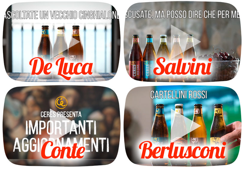 Ceres: De Luca, Salvini, Conte e Berlusconi, i nuovi Testimonial